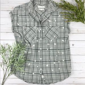Treasure & Bond Blouse Boyfriend Style Plaid Small